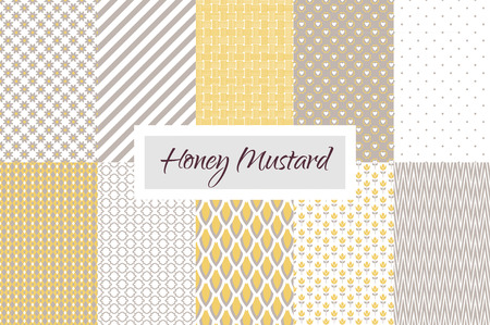 taupe: Mustard yellow and taupe geometric seamless vector pattern set. Classic lines, dots, hearts, scale and flowers. Illustration