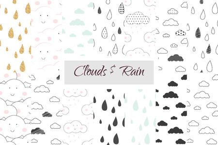 Regen en wolken kinderen naadloos patroon in te stellen. Scandinavische eenvoudige witte en zwarte minimalistische stijl. Voor weefsel textiel print, wallpapers, beddengoed, kinderkamer decor. Regendruppels en de hemel voor de baby. Stock Illustratie