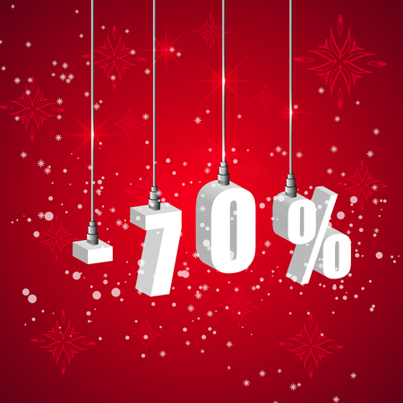 holiday shopping: Holiday winter 70 percent sale discount banner. Hanging 3d bulb digit lights. Pendant shopping banner. Illustration