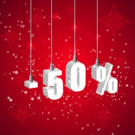 sales promotion: Holiday winter 50 percent sale discount banner. Hanging 3d bulb digit lights. Pendant shopping banner.