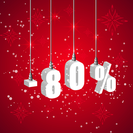 holiday shopping: Holiday winter 80 percent sale discount banner. Hanging 3d bulb digit lights. Pendant shopping banner. Illustration