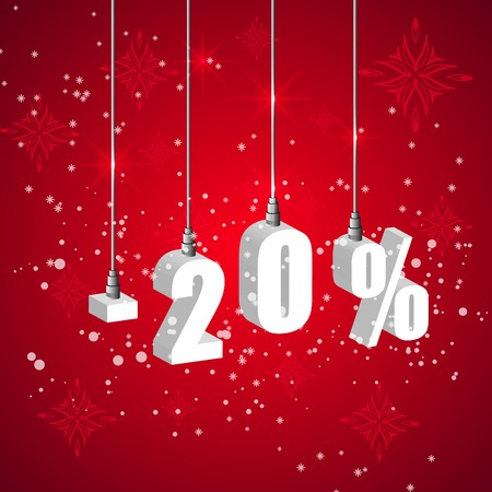 Holiday winter 20 percent sale discount banner. Hanging 3d bulb digit lights. Pendant shopping banner.