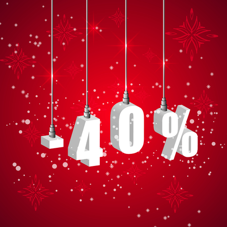 holiday shopping: Holiday winter 40 percent sale discount banner. Hanging 3d bulb digit lights. Pendant shopping banner.