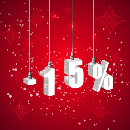 10 15 years: Holiday winter 15 percent sale discount banner. Hanging 3d bulb digit lights. Pendant shopping banner. Illustration