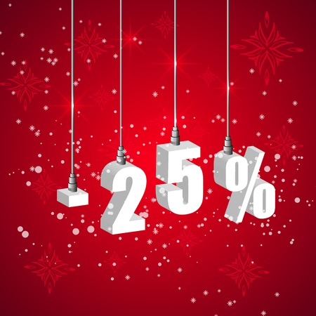 holiday shopping: Holiday winter 25 percent sale discount banner. Hanging 3d bulb digit lights. Pendant shopping banner.