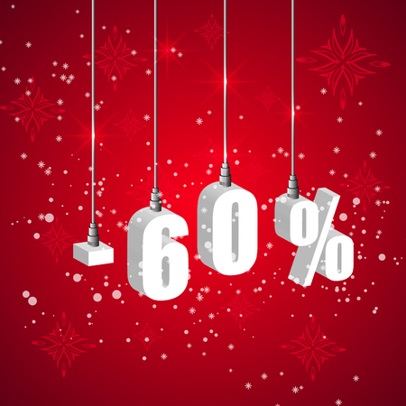 holiday shopping: Holiday winter 60 percent sale discount banner. Hanging 3d bulb digit lights. Pendant shopping banner.