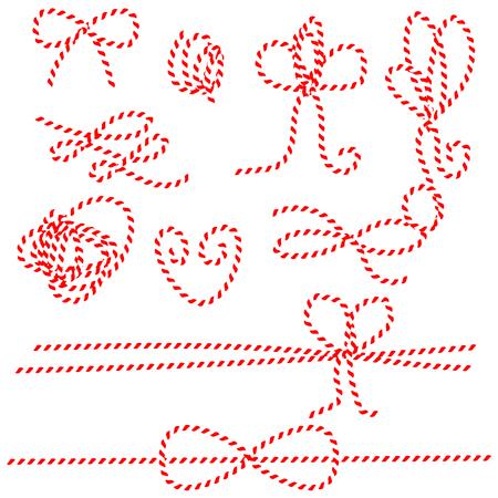 Bindfäden Seil Bogen und Geschenk-Bindungen. Rote und weiße Schnur Musterpinsel, in Pinsel Panel gespeichert. Diy Schnur Bögen.