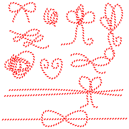 Twine rope bows and gift ties. Red and white string pattern brush, saved in brush panel. Diy twine bows.