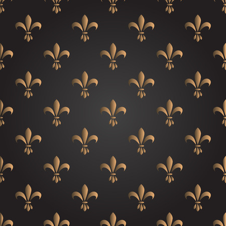 Fleur de lis seamless vector pattern. French vintage stylized lily flower luxury royal symbol. Monarchy gold on black iris sign.