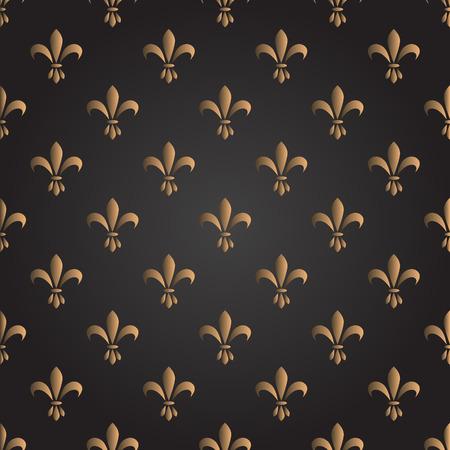 symbol fleur de lis: Fleur de lis seamless vector pattern. French vintage stylized lily flower luxury royal symbol. Monarchy gold on black iris sign.