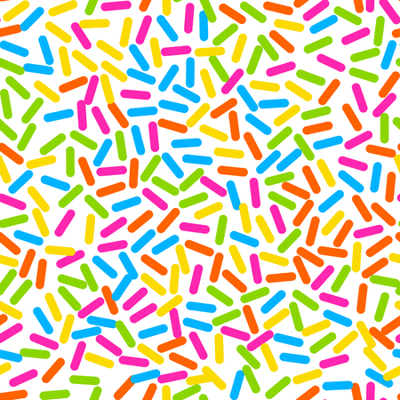glaze: Donut sweet glaze seamless pattern with coconut shavings topping. Colorful sprinkle decoration on candy white top.