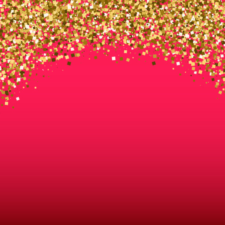 Gold glitter shimmery heading. Invitation card or flyer with sparkling top on red gradient background.