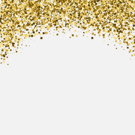 Gold glitter shimmery heading. Invitation card or flyer with sparkling top on white background.