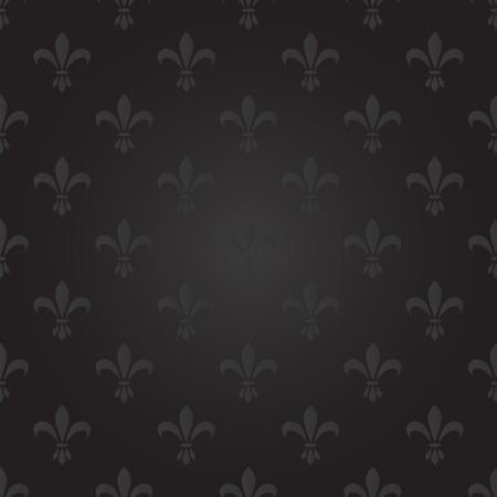 Fleur de lis seamless vector pattern. French vintage stylized lily flower luxury royal symbol. Monarchy iris sign grey on black.  イラスト・ベクター素材
