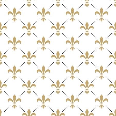 royal french lily symbols: Fleur de lis seamless vector pattern. French vintage stylized lily flower luxury royal symbol. Monarchy gold iris sign on white intersected background. Illustration