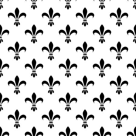 monarchy: Fleur de lis seamless vector pattern. French vintage stylized lily flower luxury royal symbol. Monarchy iris sign black on white. Illustration