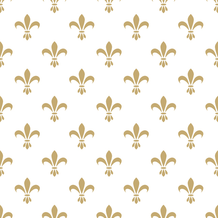 Fleur de lis seamless vector pattern. French vintage stylized lily flower luxury royal symbol. Monarchy gold on white iris sign.