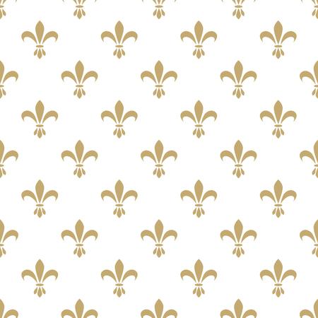 Flor de lis patrón de vectores sin fisuras. Vintage estilizada símbolo real lirio lujo flor francés. Oro Monarquía en señal de iris blanco.