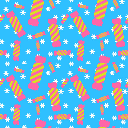 lolly pop: Sweet candy blue seamless pattern. Colorful sugar wrap paper. Celebration card background.