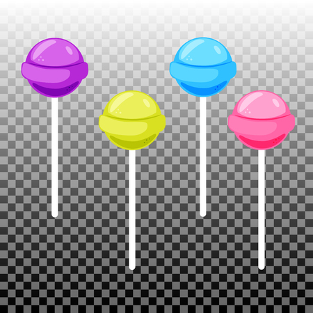 paleta de caramelo: establece el caramelo lollypopp dulce. ca�as de az�car de colores. Elementos de la celebraci�n. colecci�n Lollipop redondo aislado.