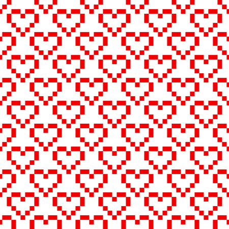 8 bit: Pixel art red heart retro 8 bit vector seamless pattern. Geometric squares romantic background. Illustration