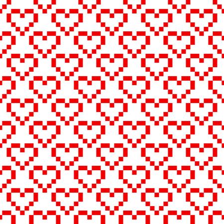 Pixel art red heart retro 8 bit vector seamless pattern. Geometric squares romantic background. Illustration