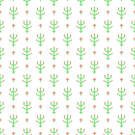 subtle background: Cross stitch seamless vector pattern. Red and green embroidery folk design. Floral plant thin subtle background.