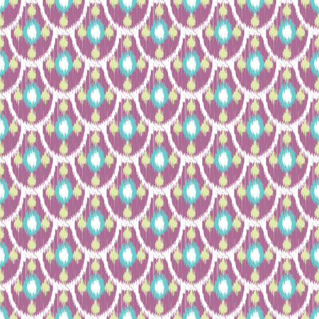 fish scale: Ikat seamless vector pattern. Abstract geometric shapes background. Purple fish scale print design. Illustration