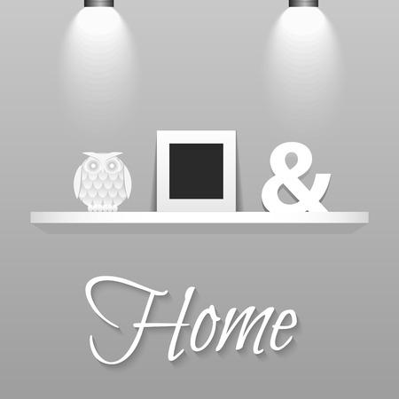 Moderne planken in Scandinavische interieur stijl. Witte muur en decor op de muur. Fotolijstje, uil adn ampersand teken op witte plank. Stock Illustratie