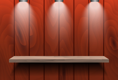 retail place: Empty shelf on red wooden wall with three spot lights. For book or product presentation. Stock Photo