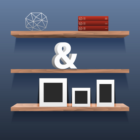 wall decor: Book shelves in room interior with decor. Blue wall with wood storage for decor, books, ampersand, photo frame.