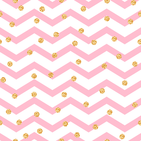 crankle: Chevron zigzag pink and white seamless pattern with golden shimmer polka dots. Vector geometric monochrome stripe with glitter spots.
