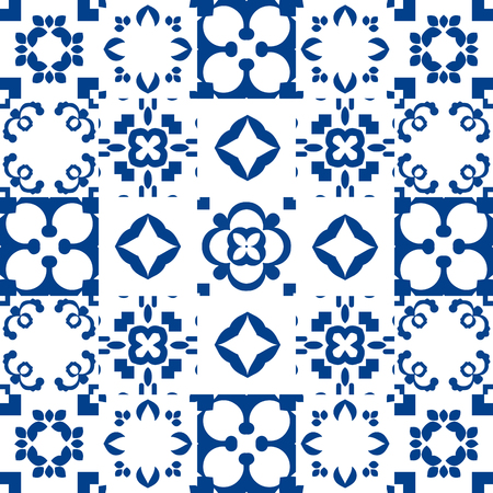 azulejos: Blue and white portuguese azulejos ceramic tiles. Patchwork pattern style.