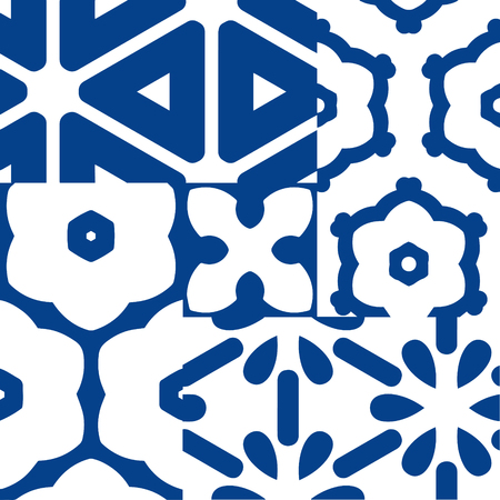 ceramic: Blue and white portuguese azulejos ceramic tiles. Patchwork pattern style.