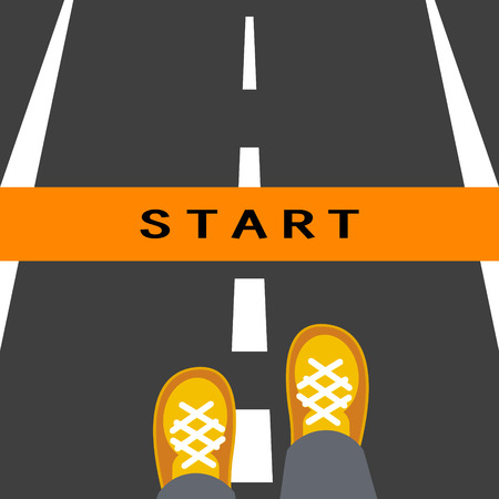 start line: Start line road sign. Man feets standing on road in front of the beginning way. Illustration