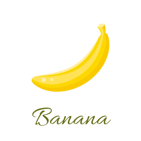 Banana isolated vector icon. Banana fruit isolated. Banana logo. Banana juice or jam branding logotype. Çizim