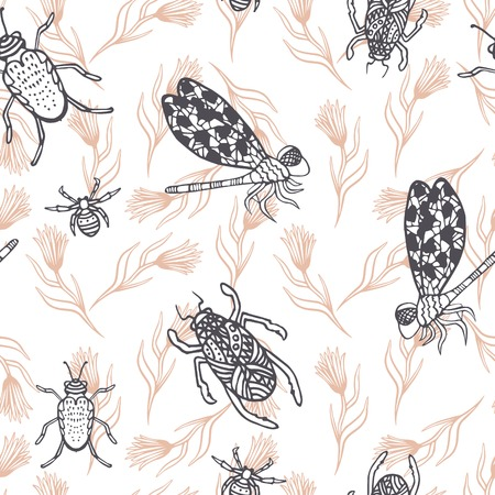 beetles: Hand drawn dragonfly and beetles ink doodle seamless pattern. Sketched grey insects with beige branches on white background. Illustration