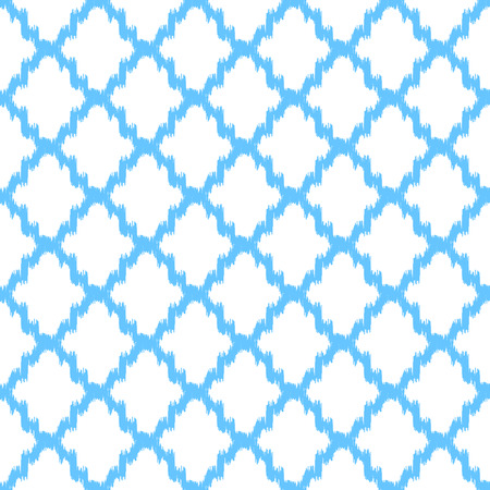Ikat quatrefoil seamless vector pattern. Abstract geometric blue shapes background.
