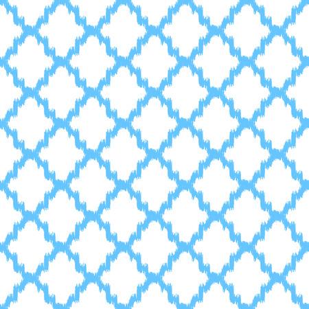 quatrefoil: Ikat quatrefoil seamless vector pattern. Abstract geometric blue shapes background.