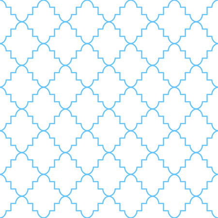 rhomb: Quatrefoil classic net seamless vector pattern. Blue and white traditional moroccan simple rhomb ornament.