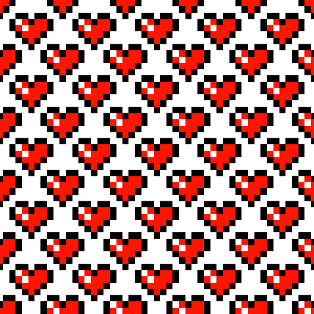 8 bit: Pixel art heart retro 8 bit vector seamless pattern. Geometric squares romantic background.