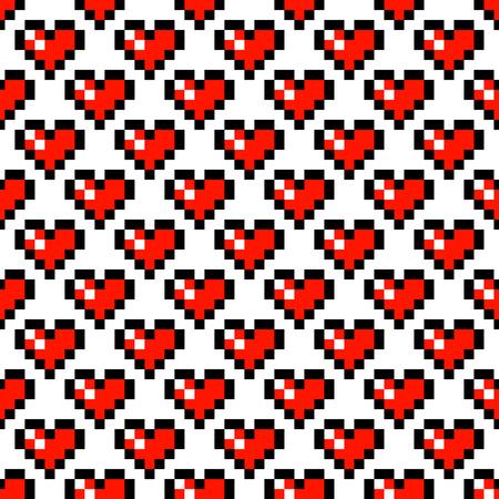 Pixel art heart retro 8 bit vector seamless pattern. Geometric squares romantic background.
