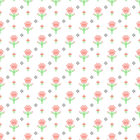 subtle background: Cross stitch seamless vector pattern. Red and green embroidery folk design. Floral thin subtle background. Illustration