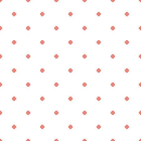 subtle background: Cross stitch seamless vector pattern. Red embroidery folk design. Polka dot thin subtle background.