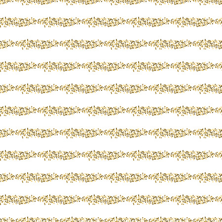 Golden mosaic lines abstract seamless vector pattern. Yellow tinsel stripes tiles. Illustration