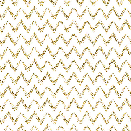 tinsel: Golden mosaic chevron abstract seamless vector pattern. Yellow tinsel zig zag lines.