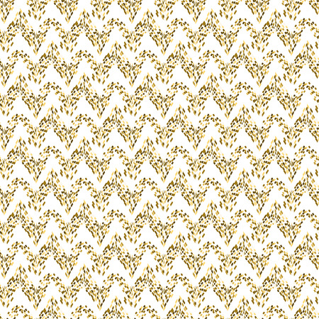 tinsel: Golden mosaic waved abstract seamless vector pattern. Yellow tinsel tiles. Illustration