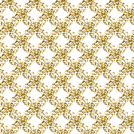 tinsel: Golden mosaic abstract seamless vector pattern. Yellow rhomb tinsel tiles.