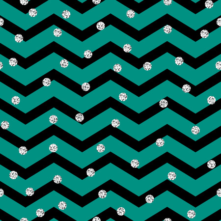 crankle: Chevron zigzag black and mint seamless pattern with silver shimmer polka dots. Vector geometric monochrome stripe with glitter spots. Illustration