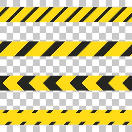 restricted access: Do not cross the line caution vector tape. Seamless police warning tape set. Prohibiting yellow isolated lines.